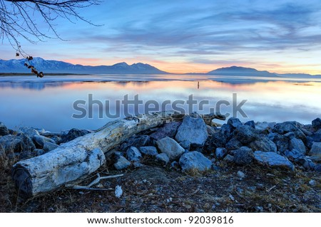 Winter Sunset on Utah Lake - stock photo