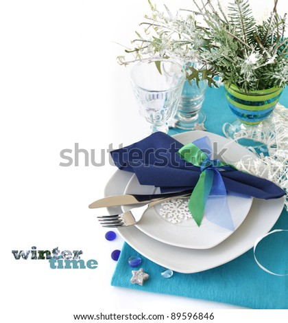 Winter table decoration - stock photo