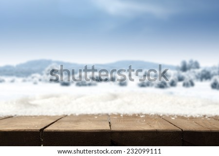 winter table of snow and sky  - stock photo