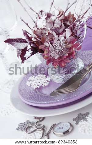 Winter table setting on the white background - stock photo