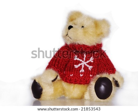 winter teddy bear with snowflake sweater - stock photo