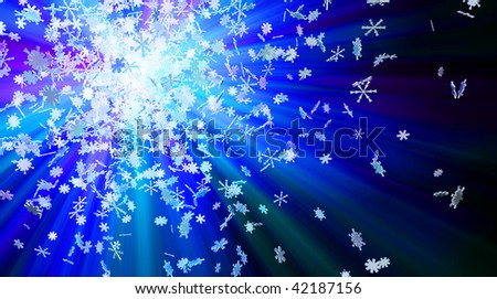 Winter theme 3d colored light snowflake background - stock photo