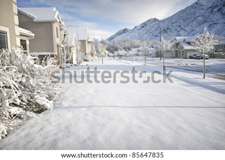 Winter Time in the Suburbs - stock photo