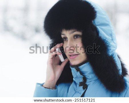 Winter time - woman on the phone