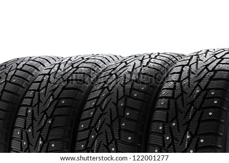 winter tires set with copy-space