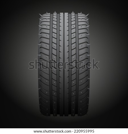 Winter tires with metal spikes. Realistic illustration - stock photo