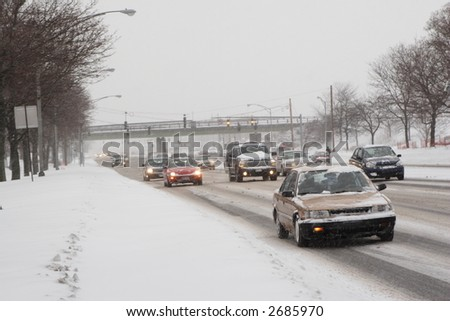 Winter Traffic from pedestrian point of view - stock photo