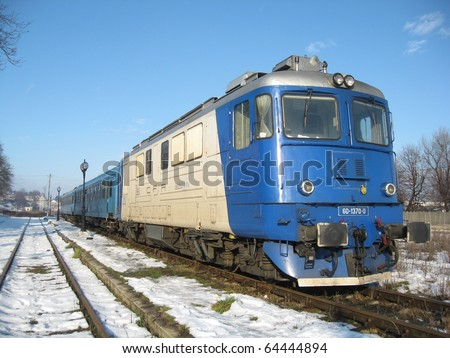 Winter train waiting for departure - stock photo