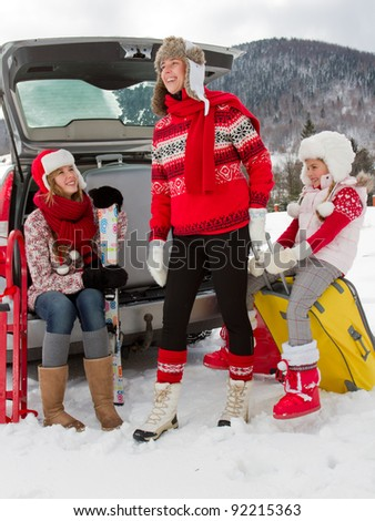 Winter, travel - family ready for the travel for winter vacation - stock photo