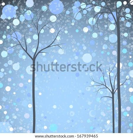 winter trees background, rasterized - stock photo
