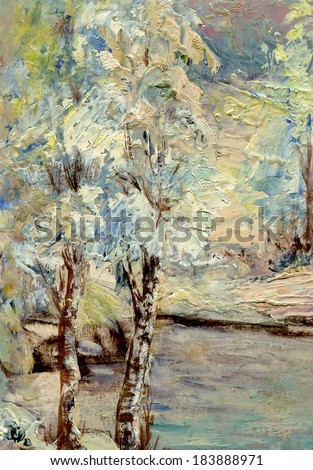 winter trees- Winter trees by oil on canvas. My own artwork. - stock photo