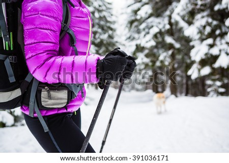 Winter trek in white woods. Woman hiking trekking in winter forest with dog. Travel recreation fitness and healthy lifestyle in beautiful nature. Motivation and inspirational winter landscape. - stock photo
