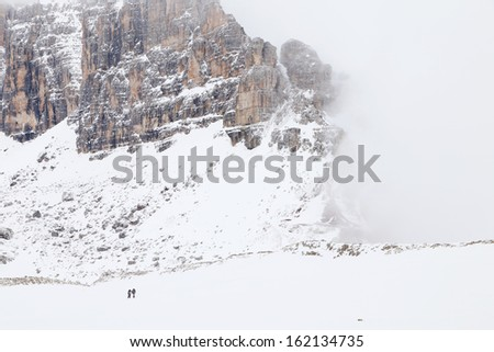 Winter trekking in the Dolomites, Italy, Europe - stock photo