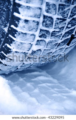 Winter tyre snow performance - stock photo