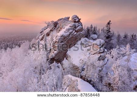 winter ural forest moutains - stock photo