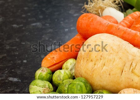 winter vegetables fresh and raw just picked in the kitchen - stock photo