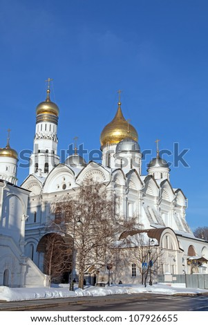 Winter. View at some of Moscow Kremlin's cathedrals - stock photo