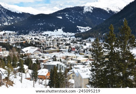 Winter view of Davos, famous Swiss skiing resort  - stock photo