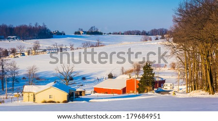 Winter view of farm fields and rolling hills in rural York County, Pennsylvania.