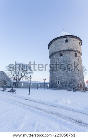 Winter view of fortress bastion tower Kiek in de K���¶k - Tallinn, Estonia - stock photo