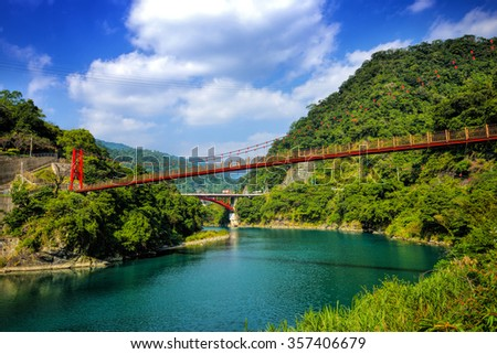 Winter view of lake and mountains in Wulai District, Taipei City, Taiwan.  - stock photo