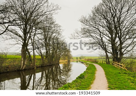 Winter view of Lancaster Canal - stock photo