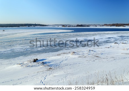 Winter view of river Volkhov near the Ilmen Lake, Veliky Novgorod