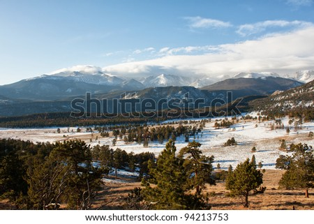 winter view of Rocky Mountains in early morning - stock photo