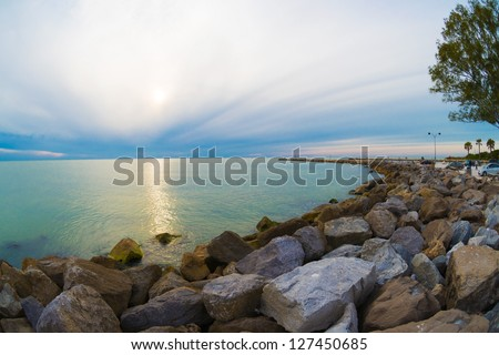 Winter view of South Jetty in Venice, Florida. - stock photo