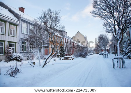 Winter view of street in Trondheim city Norway  - stock photo