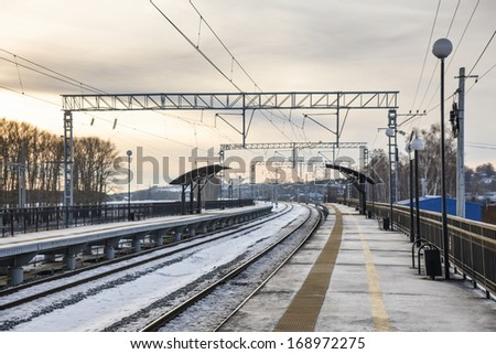 winter view of the train station - stock photo