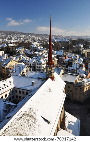 Winter view of Zurich - stock photo