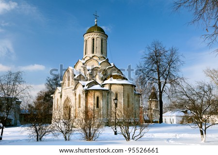 Winter view og Spasskiy cathedral 14 the century in Andronikov Monastery of the Saviour. The great medieval painter Andrei Rublev spent the last years of his life at the monastery and was buried there - stock photo