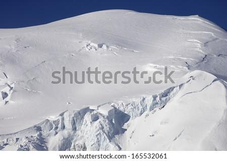 winter view  on the Mont Blanc massif, Chamonix, Alps, France - stock photo