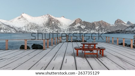 Winter view to Mefjord. Mefjordvær on Senja island , Municipality of Sandefjord in Vestfold, Troms county - Norway - stock photo