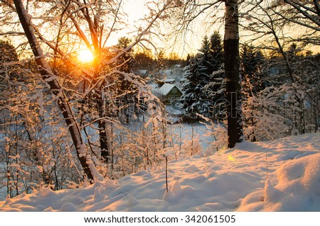 Winter village at sunset. Hoarfrost on branches macro. Hoarfrost and Rime on trees. Frost and snow on the branches. Winter rural landscape. New year's fairy tale. Wooden house in snow. - stock photo