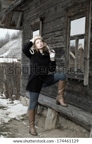 Winter Vintage portrait of a woman the October Revolution of 1917 in Russia. Gulag. Decembrists. Repression.