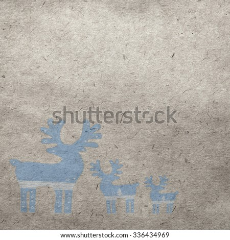 winter vintage wallpaper background with deers - stock photo