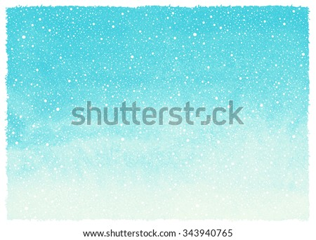 Winter watercolor abstract background with falling snow splash texture and rough, artistic edges. Sky blue Christmas, New Year painted template. Horizontal gradient fill. Hand drawn snowfall.  - stock photo