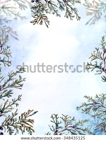 Winter Watercolor Christmas Frame with Tree Branches, Fir Cones and Leaves. Natural Hand Painted Illustration - stock photo