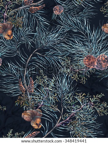 Winter Watercolor Christmas Seamless Pattern with Tree Branches, Fir Cones and Leaves. Natural Hand Painted Illustration on dark background