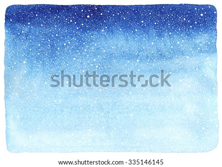 Winter watercolor horizontal gradient background with falling snow splash texture. Christmas, New Year hand drawn template with uneven edges. Shades of blue watercolour stains. - stock photo