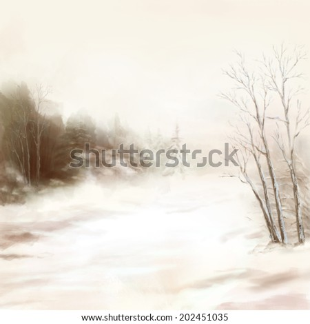 Winter watercolor landscape drawing. Digital artistic painting