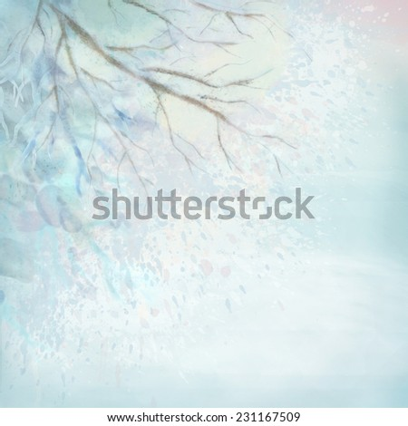 Winter watercolor landscape with bare tree branches, spray paint - stock photo