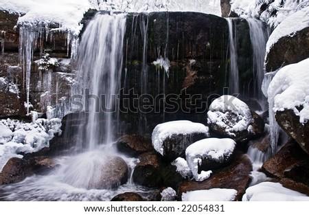 Winter Waterfall - stock photo