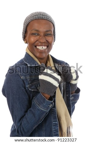Winter Wear African Woman - stock photo