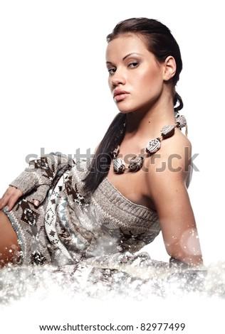 Winter wild woman - stock photo