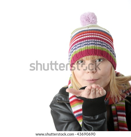 Winter Woman isolated on white background - stock photo