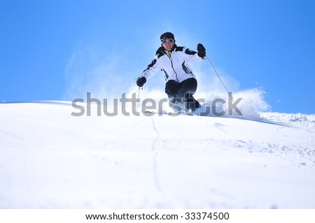 winter woman  ski  sport  fun  travel  snow - stock photo