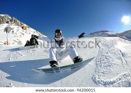 winter woman  ski  sport  fun  travel  snow board - stock photo